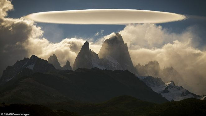 This photograph of clouds above El Chalten in Argentina was taken by Francisco Javier Negroni Rodriguez. 'Only for a moment the clouds allowed me to see El Chalten and to my surprise there was a spectacular and brilliant lenticular cloud with a beautiful and perfect figure that I had never seen,' he said