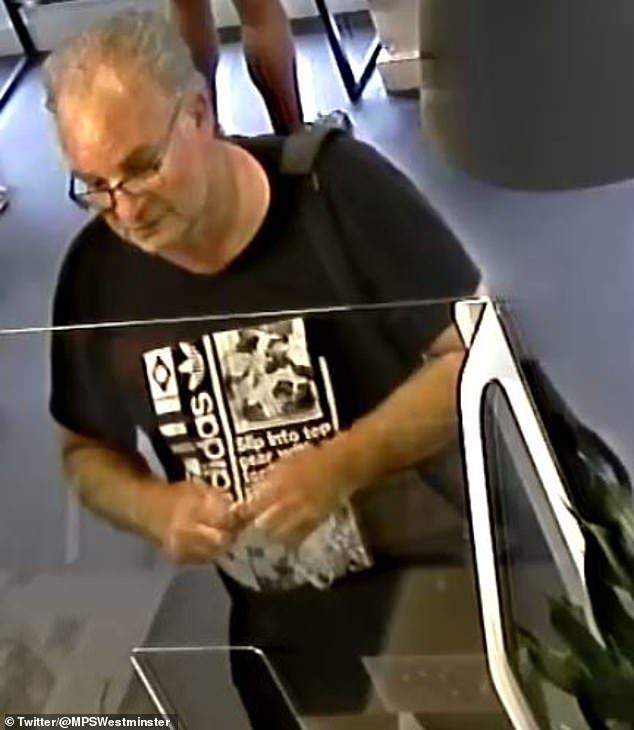 Suspect: On Friday evening, Dermot shared a snap of the man the Metropolitan Police are searching for in connection with the theft of his wedding ring from a gym in central London