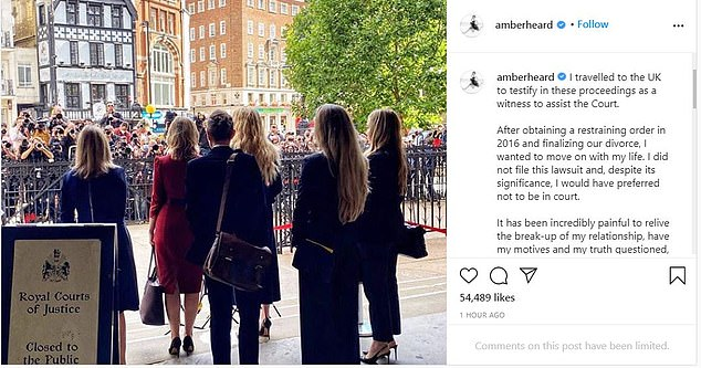 Speaking out:The weeks-long trial saw multiple shocking claims brought from both sides, with the headline-making proceedings coming to an end in July; Amber's statement on the matter from her July 28th Instagram post