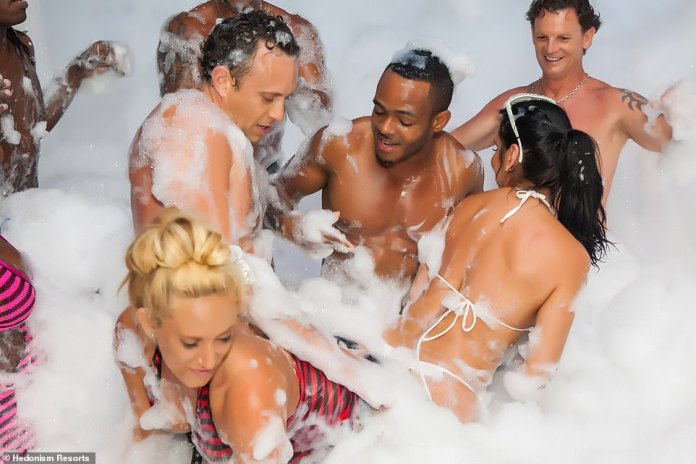 The pandemic also means that some of the resort's most popular activities and attractions that involve close contact - and intimacy - such as its sexy foam parties and 'car washes', have been scrapped