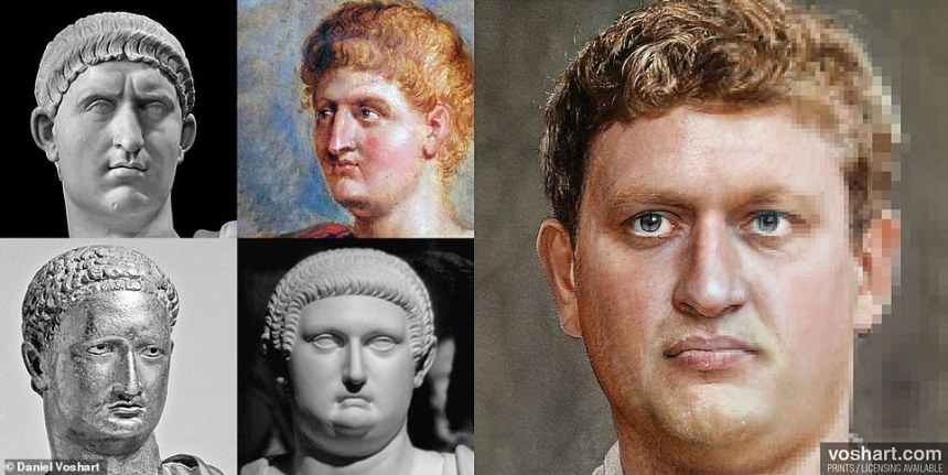 Rather than simply taking an historical bust at face value, Daniel would change aspects of the emperor's facial structure to appear more realistic for a man of their age. Each of these took a whole day to design. Pictured: Otho, clockwise from top left: The Louvre, Rubens painting, Uffizi Gallery in Florence, British Museum