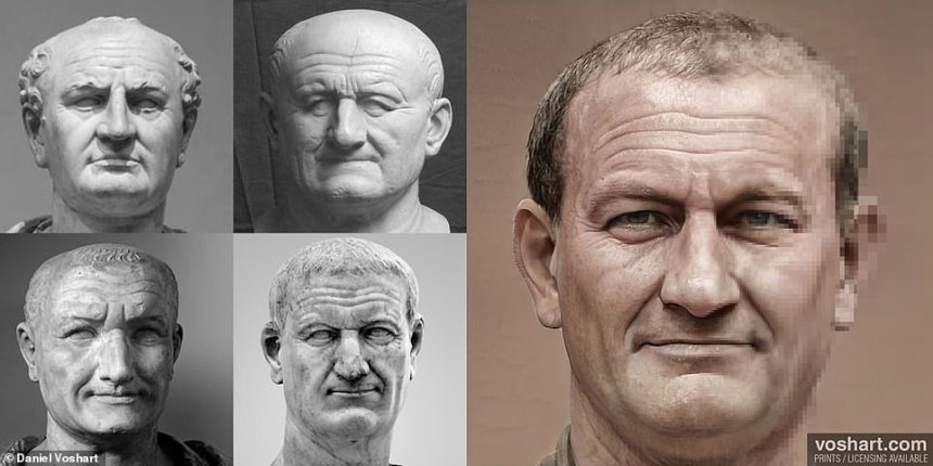 When he came to pick a subject, he chose to research the busts of the Roman Emperors, despite not being particularly interested in ancient history. Pictured right: Vespasian digitally remade, and clockwise from top left: At the Louvre, Museum of Classical Archeology, National Archeological Museum in Naples,Capitoline Museum