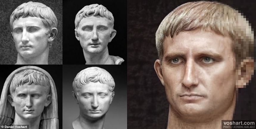 Daniel's project, usingmachine learning software, has created photorealist versions of the 54 Roman Emperors who served in The Principate, starting with Augustus (pictured) in27 BC. Clockwise from top left: The Prima Porta, Pergamum Museum, the British Museum, Labicana