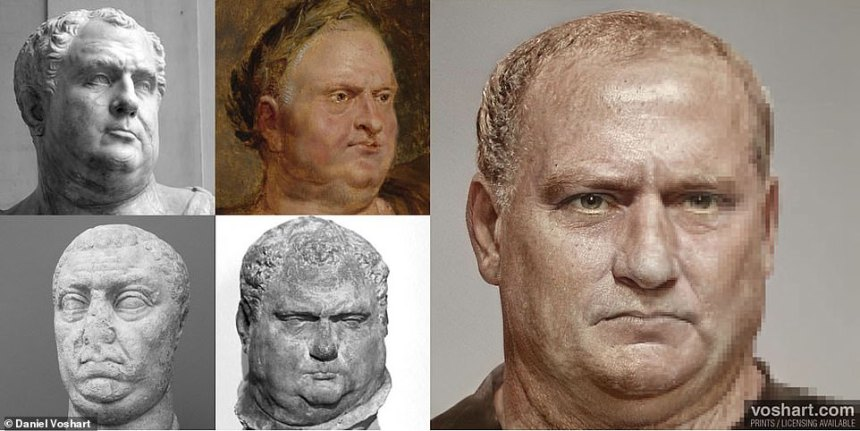 Daniel, from Toronto, Canada, says that his project of painstakingly colourising and shaping their rulers' faces was 'a quarantine project that got a bit out of hand'. Right: Daniel's Vitellius, clockwise from top left: At the Louvre, painting by Peter Paul Rubensm, Rubens House in Antwerp, New Carlsberg Gylototek