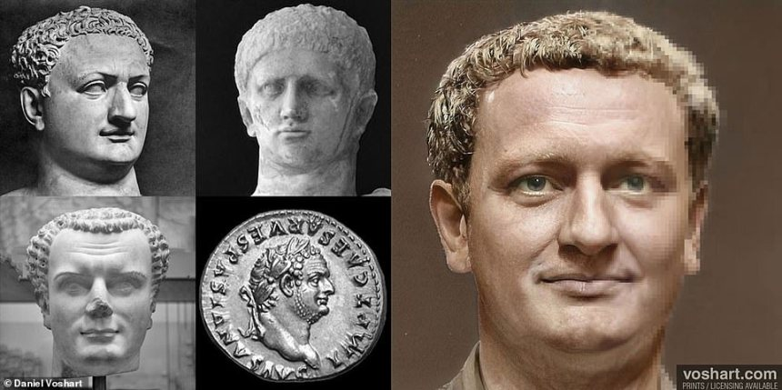 Daniel added that the project had given him a new appreciation for the Roman Empire, and is now considering paying Rome a visit. Pictured: Titus, clockwise from top left:National Archeological Museum in Naples, Archeological Museum in France, British Museum