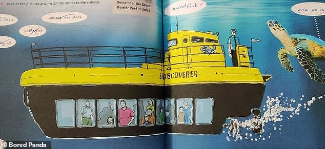 English class quickly became a lot more interesting for one American child after they noticed that the captain of this submarine was wrongly depicted as standing outside thevessel
