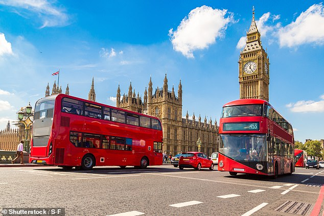 The UK is forecast to be the seventh place available to Australians. Pictured: Big Ben, Westminster Bridge and red double decker bus in London, England