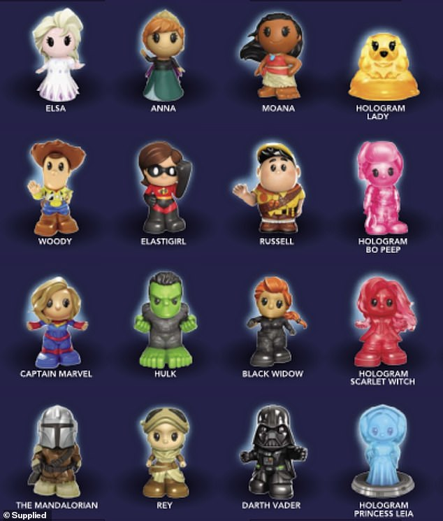 Woolworths has announced the full list of Disney Plus Ooshies collectables featuring iconic characters like Elsa and Anna from Frozen, Elastigirl from The Incredibles and Darth Vader from Star Wars