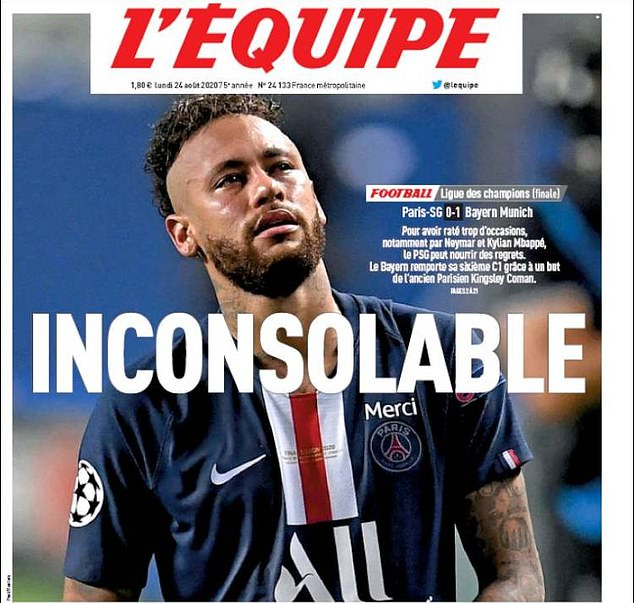 The front cover of Monday's edition of L'Equipe focuses on PSG's Champions League final loss