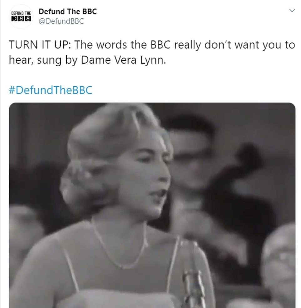 Campaign group Defund The BBC this morning tweeted a video of Dame Vera Lynn singing Land of Hope and Glory