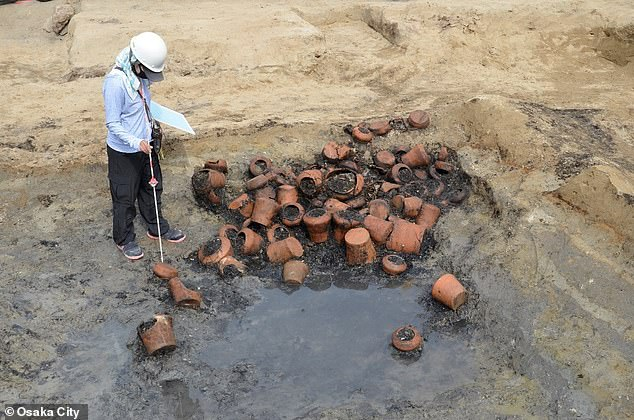 Excavations of the Umeda Tomb site have also uncovered the remains of various pieces of pottery (pictured), a tile, coins, beads, a comb, a sake cup and clay dolls