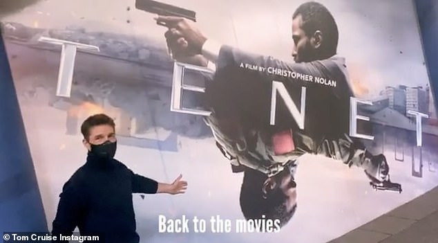 """Great movie.  Big screen.  Loved it ': Meanwhile, Holmes' ex-husband Tom Cruise - who is in London to shoot MI7 - shared a video of himself masquerading to attend a private screening of the epic science fiction film by Christopher Nolan, Tenet."