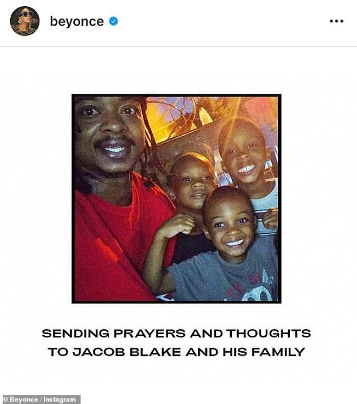 Amor: Beyonce se unió a las celebridades para enviar buenos deseos al joven de 29 años, luego de que el abogado de la familia de Blake, Benjamin Crump, anunciara que estaba paralizado de cintura para abajo el martes.