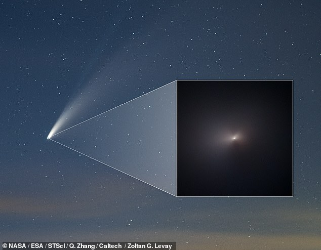 NASA has released a stunning close-up image of comet Neowise (pictured, inset) following its journey around the Sun — one that reveals that its solid core has remained intact. Pictured, main — Neowise and its two tails of dust and gas as seen from the Earth on July 16, 2020