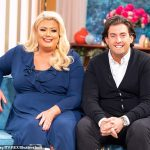 Gemma Collins shows off her three-stone weight loss in a black floral print bikini while filming