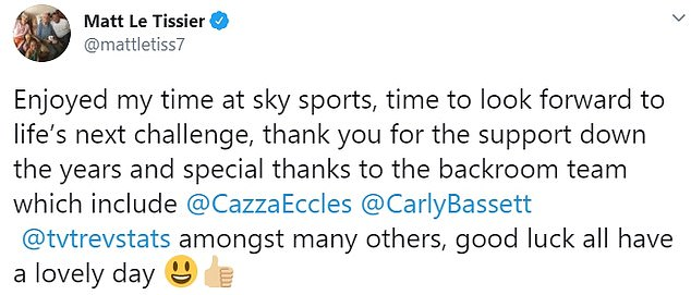 Le Tissier broke his silence on Twitter on Wednesday to thank those with whom he has worked