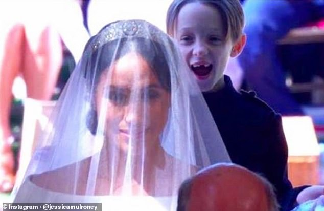 Jessica Mulroney shared a snap of one of her twin sons, Brian, at Meghan Markle's, 39, wedding two weeks ago, but deleted the snap the following week