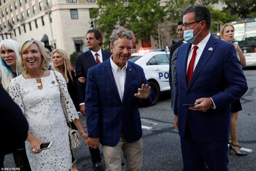 Republican Senator Rand Paul of Kentucky arrives at the White House for the president's speech