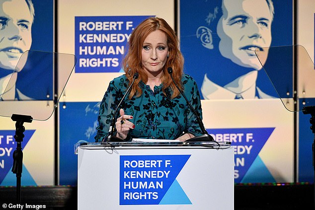 JK Rowling speaks onstage at the 2019 RFK Ripple of Hope Awards at New York Hilton Midtown on December 12, 2019 in New York City