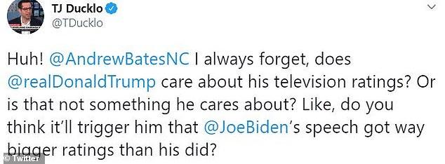 Members of Biden's communications team enjoyed the news the Democrat had won the ratings war