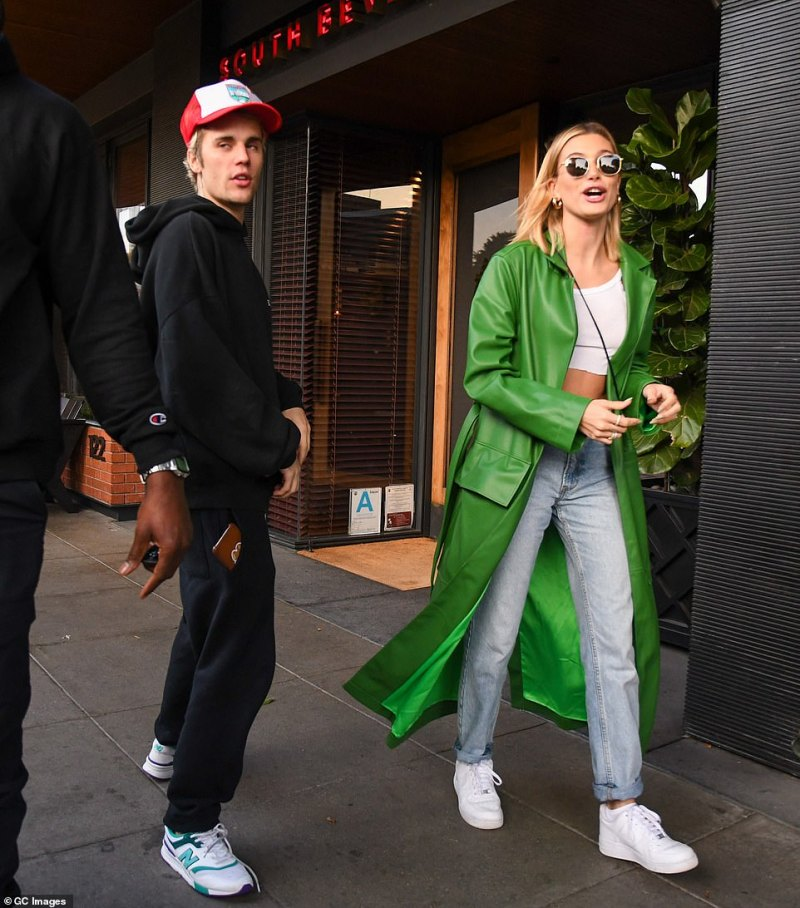 Old digs: Prior to purchasing their new home, Justin and Hailey had been living in a Beverly Hills mansion purchased in March of last year; shown in February in LA