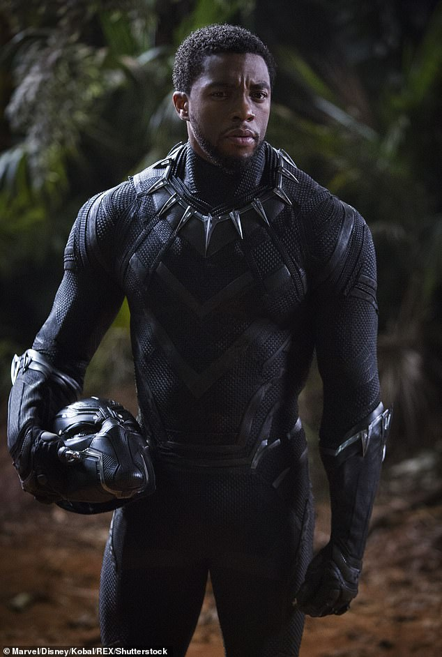 Black Panther:RIP: Chadwick Boseman has died at the age of 43 after enduring a four-year battle with colon cancer; Chadwick pictured in 2018 in Black Panther