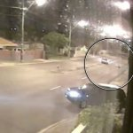 Horrific moment Ford Falcon swerves TOWARDS a pedestrian crossing the road