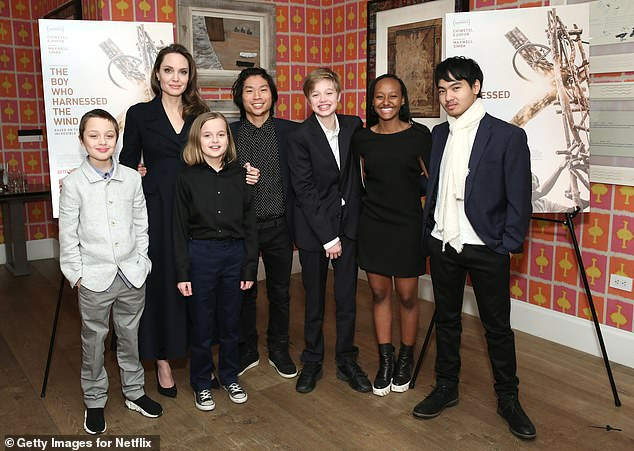 All together now: It was a girls only night, as the actress left her four other children—Maddox, 19, Pax, 16, John, 14, and Vivienne's twin brother Knox, 12— who she shares with ex Brad Pitt, at home