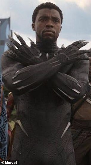 Memorable: Wakanda Forever salute was the hallmark of Boseman T'Challa's superhero character in Black Panther