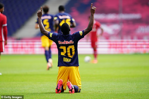 The 21-year-old Zambian scored two goals for the Austrians in a 2-2 draw with Liverpool