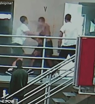 Shocking footage has captured the moment a pair inmates ambush a prisoner inside a maximum security jail