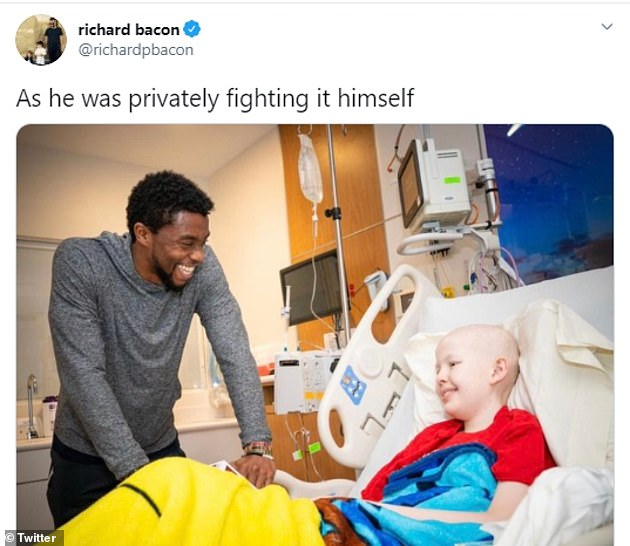 Touching: Boseman had paid a visit to children's hospital St Jude's to visit children suffering from cancer - something he was sadly all too familiar with at the time