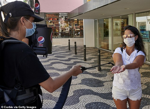 Portugal is listed as an 'orange' nation, meaning it is nearing the UK quarantine threshold with 19.4 cases of the virus per 100,000 people on a cumulative seven-day tally
