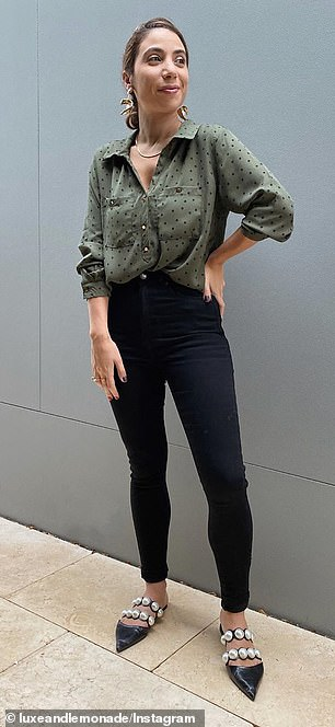 Seal of approval: Affordable fashion blogger Luxe and Lemonade wears the $20 'Soft Touch' skinny jeans from Best and Less