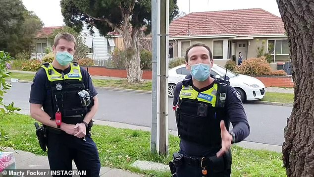 Two police officers arrived and confronted Mr Focker about breaching lockdown