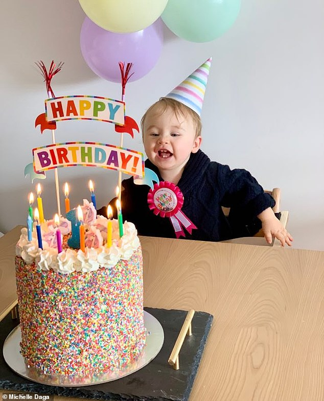 Michelle and Jahmin recently celebrated Jahlee's first birthday with a party for the three of them, and all 20 of their extended family joined from across the country on Zoom (pictured)