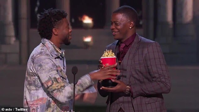 Your award: He then told Shaw Jr. to come up on stage with him, handing him the golden popcorn bucket trophy stating, 'This is gonna live at your house. God bless you, man;