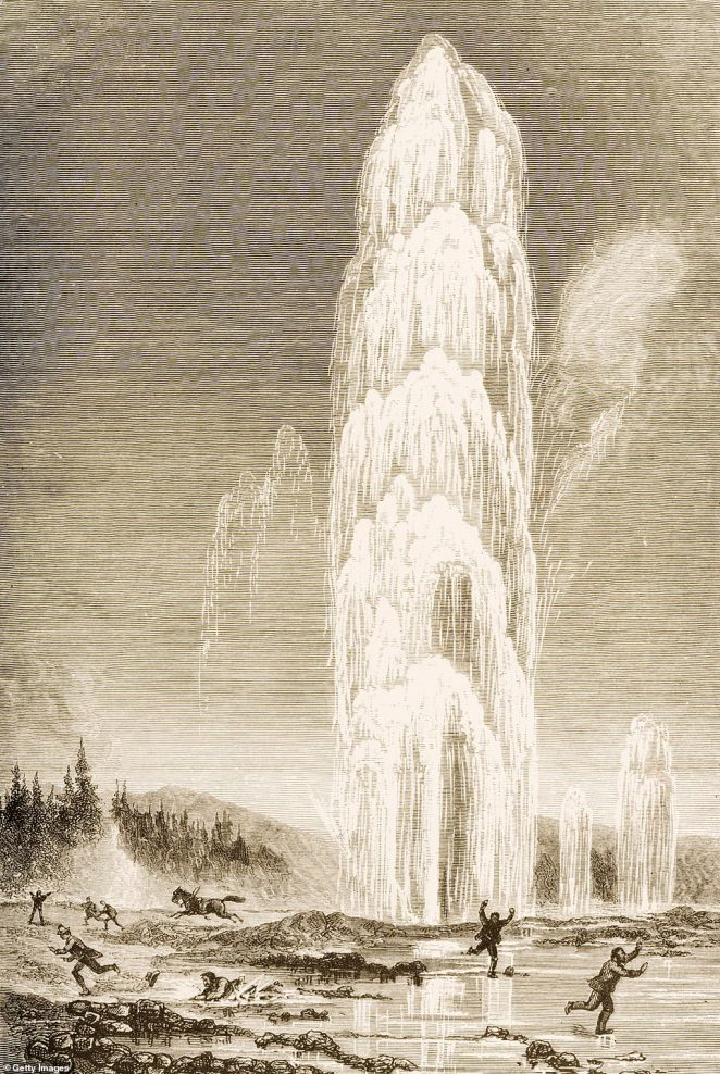 The geyser is pictured erupting in a pencil drawing by Reverend Samuel Manning, made around 1880