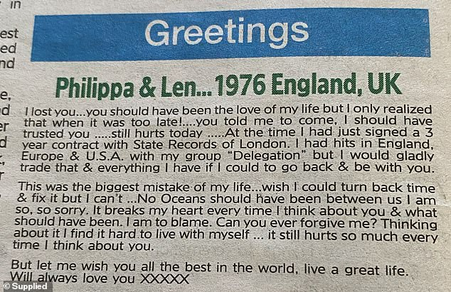 Coley, who is married with three grown children, placed his lovelorn declaration in the personal notices of Saturday's Sydney Morning Herald under the headline 'Philippa & Len... 1976, England, UK'
