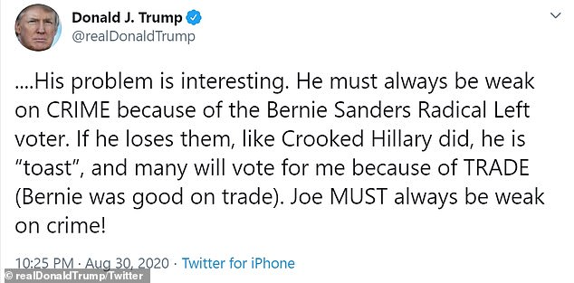 Trump used his frequent line of attack - that Biden is soft on crime