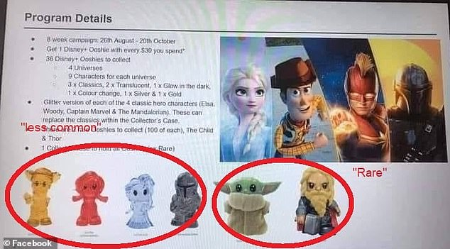 Woolworths is yet to officially release the names of the 'ultra rare' Ooshies - but a 'leaked' picture on social media has emerged suggesting there's going to be 'furry' versions of Thor and The Child to collect