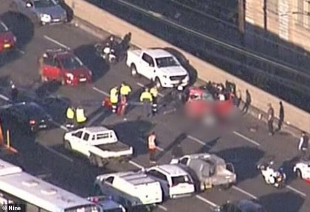 The crash sparked chaos during the morning commute with hundreds of cars backed-up along the bridge