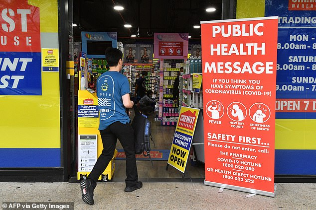 Spending on health services rose by about 69 per cent, the research found. Pictured: A man enters a Chemist Warehouse store in Sydney