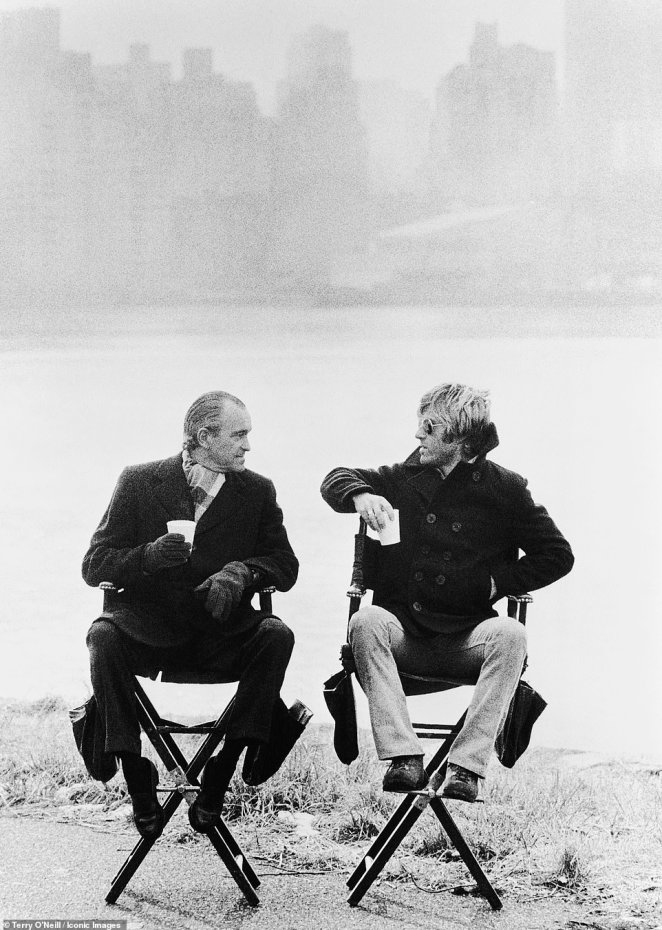 Actor Robert Redford with Richard Helms, former director of the CIA, during the filming of 'Three Days of the Condor' on East River Lane, Wards Island, New York on February 27, 1975.