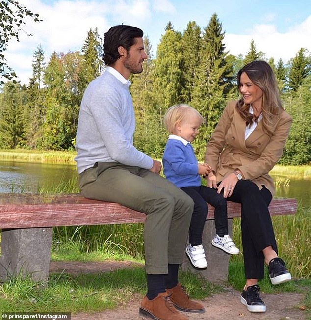 'We hope that the resting place will be an appreciated feature for the many visitors of this nature reserve. It's definitely a new [special] place for us to visit,' Prince Carl Philip and Princess Sofia (pictured with their son) said on their Instagram account