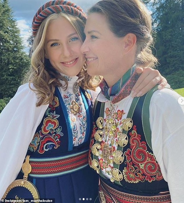 Princess Märtha Louise of Norway, 48, praised her teenager daughter Leah, 15, in a gushing message celebrating her confirmation and said her late ex-husband Ari Behn would have been 'so proud'