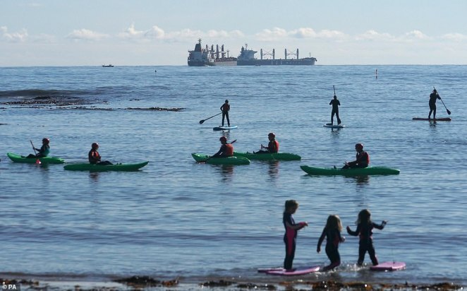 Kayakers and paddleboarders were not put off by the chill in the air and still donned their equipment for a go on the water at Cullercoats, North Tyneside, today