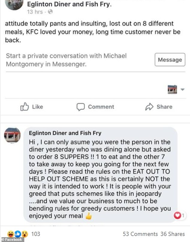 Eglinton Diner and Fish Fry in North Ayrshire posted this response to the man on social media after he ordered eight meals on the taxpayer-funded scheme.