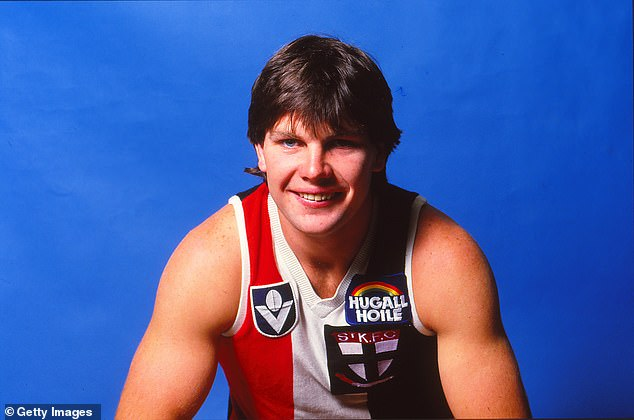 Frawley (pictured during his playing days) excelled on the AFL field, playing 240 games with St Kilda