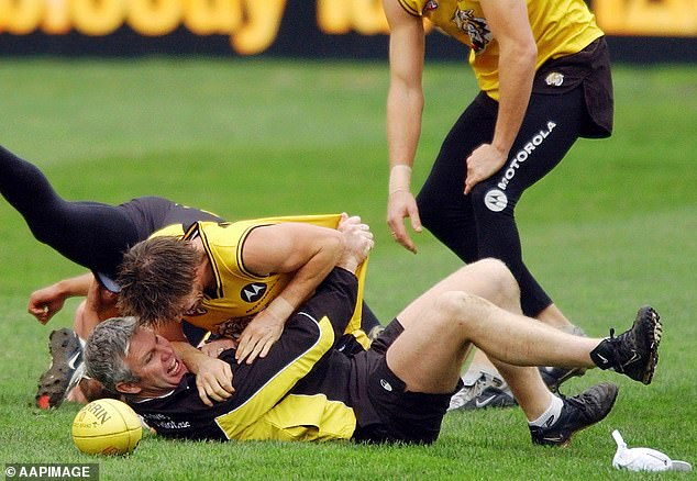 Pictured: Frawley trains with Richmond Tigers in Melbourne in 2004